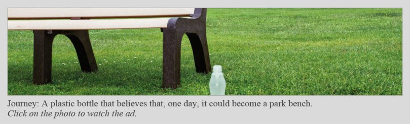 Image of a plastic bottle sitting in front of a park bench, from Keep America Beautiful campaign.