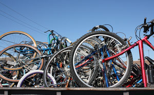 Photo of bicycles collected by Revolve at a local recycling extravaganza.