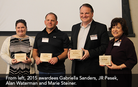 Photo of people that accepted the MARC Solid Waste Management District's Special Recognition awards. From left, 2015 awardees Gabriella Sanders, JR Pesek, Alan Waterman and Marie Steiner.