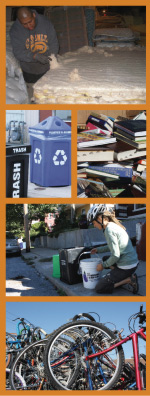 Photos of past grantee projects, and/or district grant priority target materials. From top to bottom: Man deconstructing a mattress, receptacles for recycling and trash, used books, woman collecting food waste, bicycles.