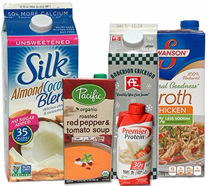 Image of group of five food products in cartons: Half-gallon of non-dairy drink, individual portion of soup in carton, small carton of egg nog, small protien drink in carton, quart-sized carton of broth.