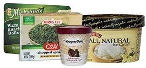 Image of a group of frozen food containers: frozen, microwavable entree, frozen vegetable in freezer-safe box, pint-sized ice cream container, half-gallon ice cream container.