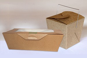 Image of two different types of restaurant-style, to-go/take-out boxes.