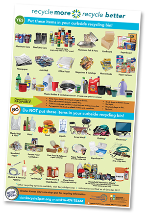 Recycle More, Recycle Better flier. Pictures materials that can be recycled curbside or drop-off, and materials that can be recycled through other means, and that cannot be recycled in our area.