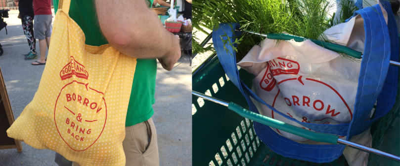 Man using Boomerang bag at market Boomerang bag with produce inside shopping basket