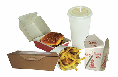Photo of group of fast food containers: take out box, hamburger box, french fry container, Chinese take out container and fast food drink cup.